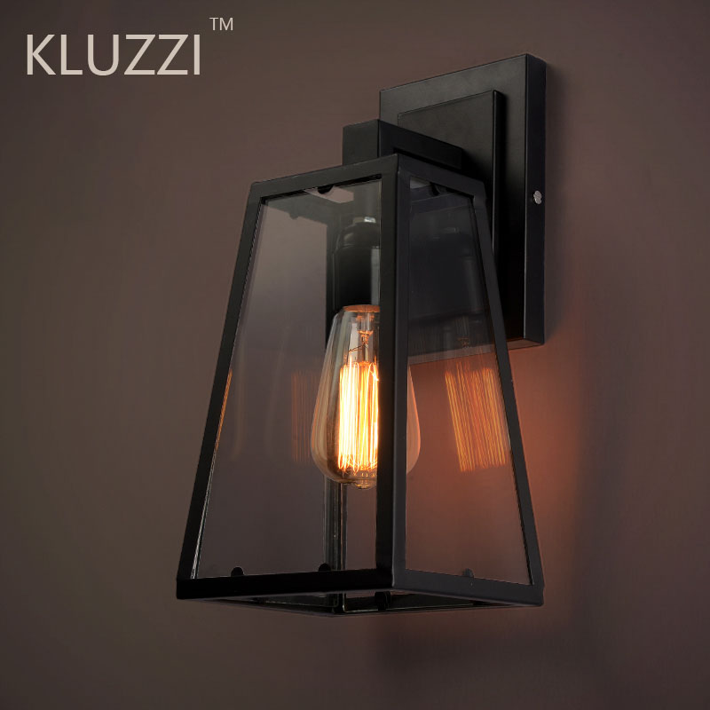 americano do vintage lampada de parede ao ar livre ferro preto vidro luminaria varanda luz industrial