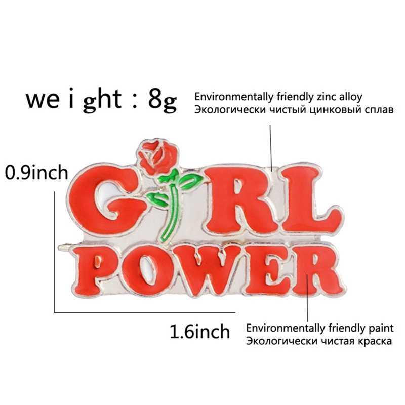 Girl Power Enamel Bros Rose Feminisme Tombol Pins untuk Tas Pakaian Lencana Feminis Perhiasan Hadiah untuk Teman Wanita