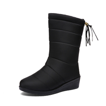 COZULMA Women Winter Warm Plush Mid-Calf Snow Boots Shoes Lady Fringe Fashion Female Sewing Bootie Plus Size 35-41