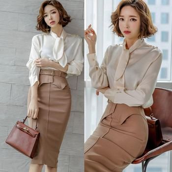 Korean Women Spring Sexy OL Work 2 Pieces Set Lace up Chiffon Blouses & Sheath Pencil Skirt Elegant Office Lady Skirts Suits