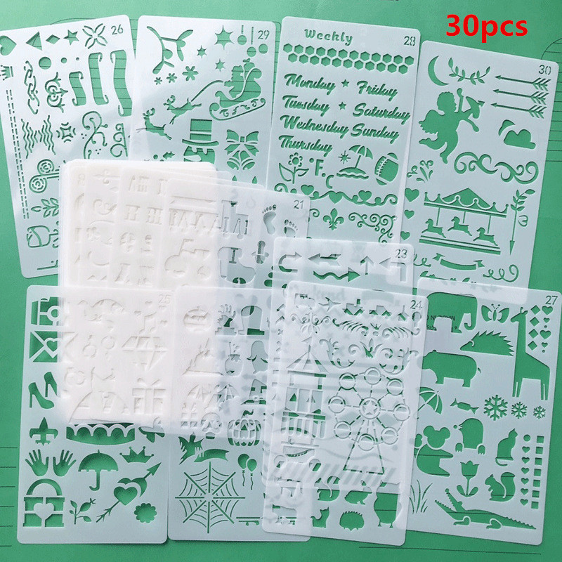 30Pcs Bullet Journal Stencil Set Plastic Planner Hollow DIY Drawing Template Diary Decor Craft Scrapbooking Stationery Supplies