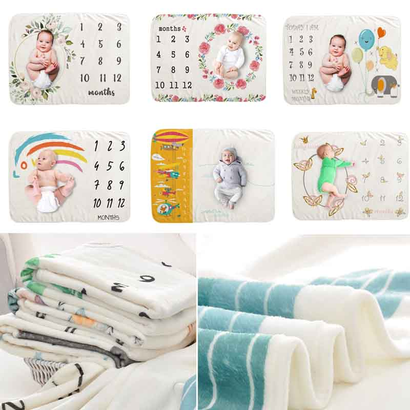 Baby Monthly Record Growth Milestone Blanket Newborn Photography Props Children Photo Creative Background Cloth Shower Gift