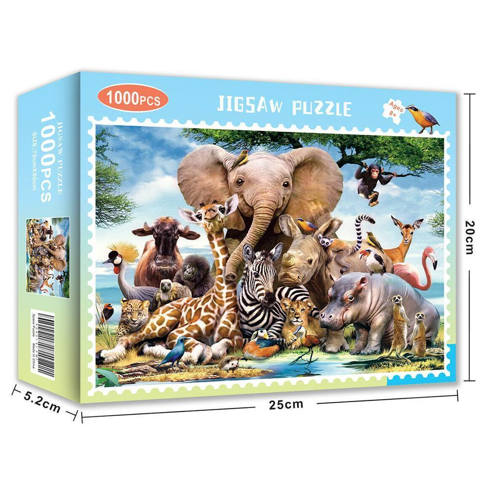 1000 Pieces Adult Children's DIY Educational Jigsaw Educational Interactive Animal Landscape World Puzzle Decompression Toy M8Y6