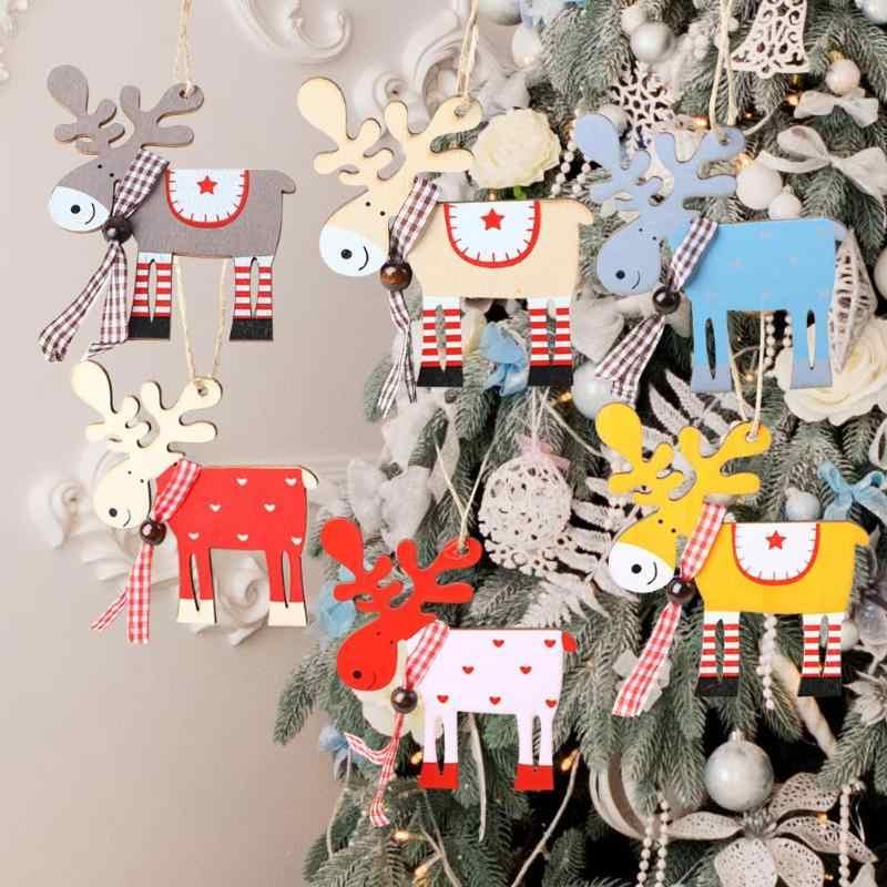 Decorazione di Natale per La Casa di Natale Ornamenti Albero di Natale Decorazioni in Legno Dipinto Alce Pendente Xmas Party Decor Deer Pendenti con Gemme E Perle