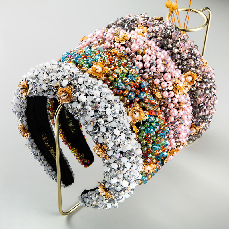 Bandana para Mulheres de Luxo Acessórios para o Cabelo Fértil Elegante Barroco Cristal Diamante Acolchoado Hairband Strass