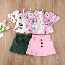 Casual Kids Clothes Set Summer 2020 Lace Floral Printed Off-