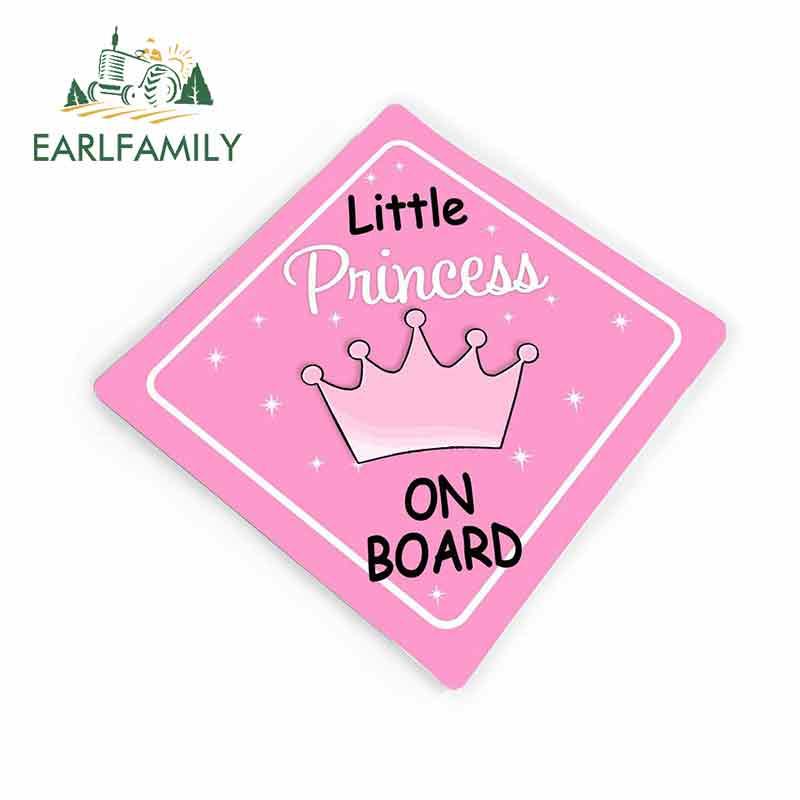 EARLFAMILY 13 см x 12 см Автомобильная наклейка s персонализируемая маленькая принцесса на борту розовая Корона Автомобильная виниловая наклейка г...