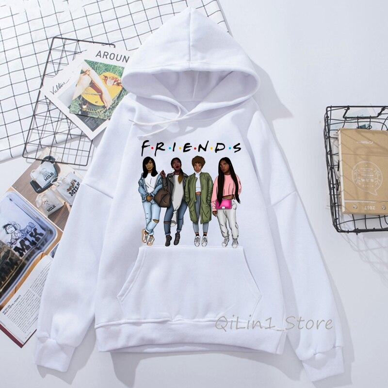 Melanin Poppin Hat Sweatshirt Womenblack Girls Print Friends Hoodie Woman Winter Clothes Female Friends Tv Show Vogue Tracksuit