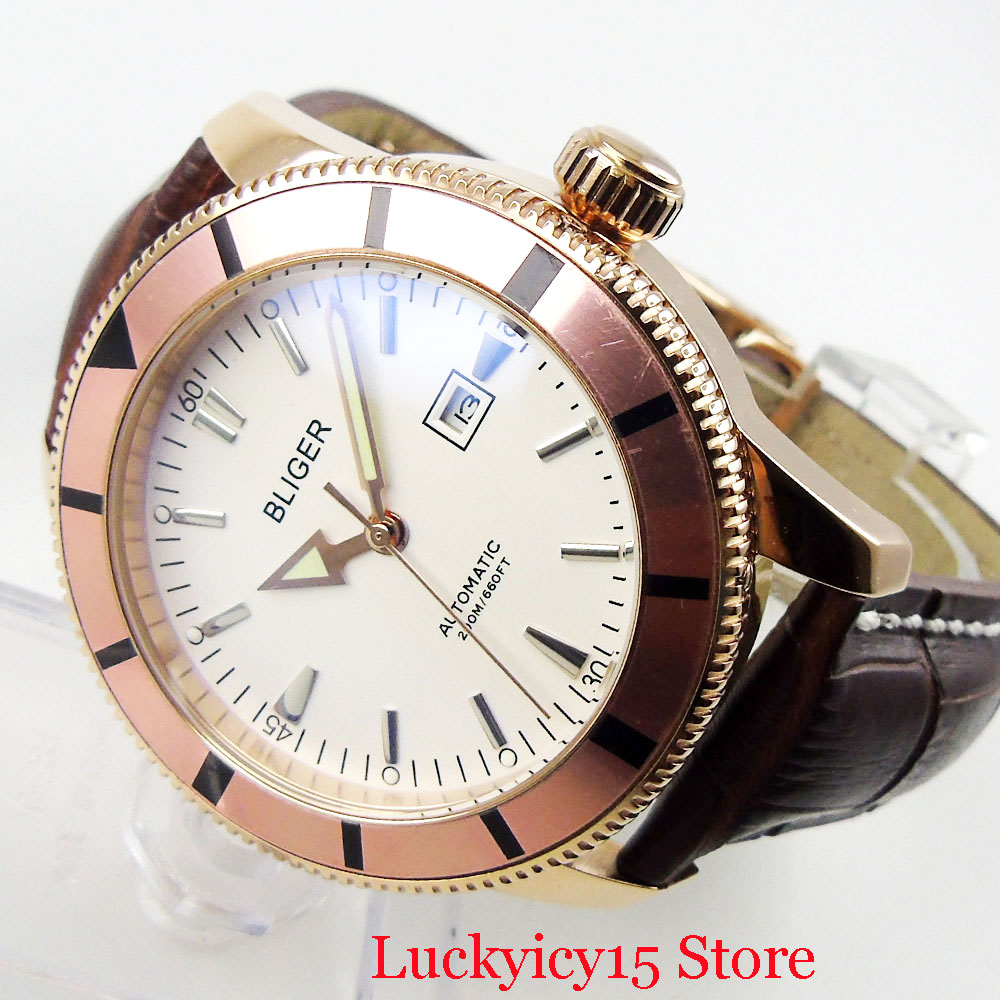 BLIGER 46mm White Dial Date Function Luminous Hand Rose Gold Round Case Mechanical Automatic Wristwatch