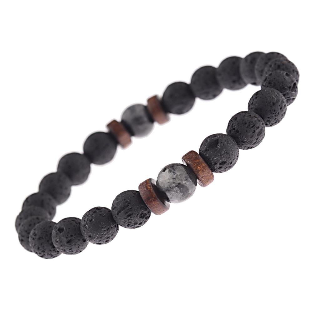 Natural Lava Rock Stone Beads Strand Bracelet Wooden bead Accessories Black Charm Stone Men Women Jewelry Gift
