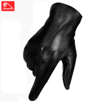 Leather Touch screen Winter Gloves Warm Thermal Velvet Bicycle Cycling GLoves Full Finger Bike Motorcycle Gloves Men Anti slip