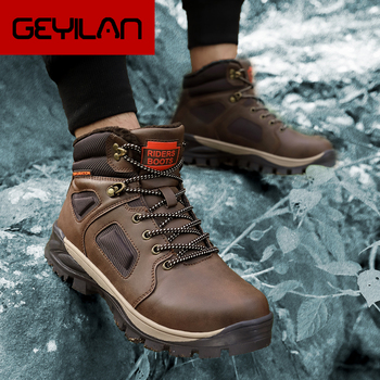 Winter Leather Non-slip Boots Men Sneakers Casual Outdoor Shoes Male Snow Trainers Botas Waterproof Men's Wool Plush Warm Boots