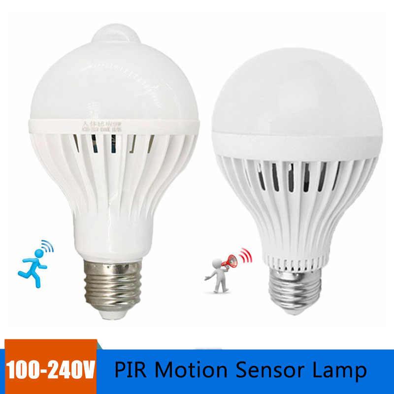 E27 الذكية LED لمبة 100-240 فولت PIR محس حركة مصباح 5 واط 7 واط 9 واط PIR الأشعة تحت الحمراء الجسم الصوت ضوء ل درج المرآب الممر