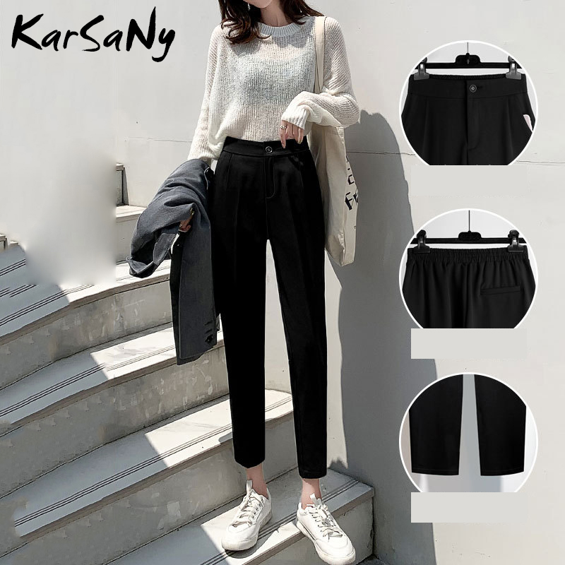 KarSaNy Work Pants Women Office High Waist Pant Female Loose Summer Trousers Black Solid Color Harem Pants Women Plus Size 2020