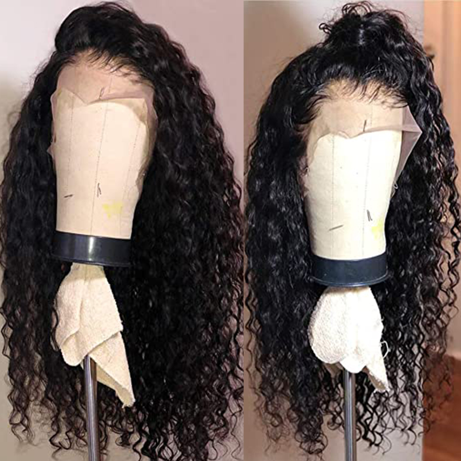Curly Wigs Lace Front Wigs Natural Synthetic Long Wigs Heat Resistant Fiber Hair Black Color For Black Women