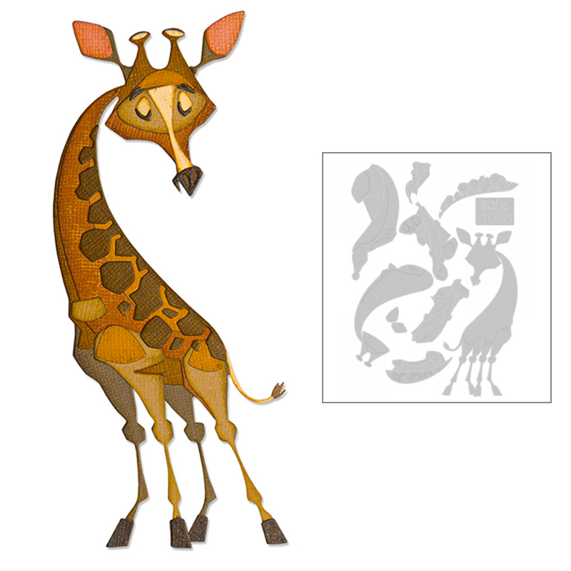 2020 New Hot Giraffe Metal Cutting Dies Stencils And Scrapbooking Paper For Animal Foil 3D Die Cut Crafts Supplies Set No Stamp
