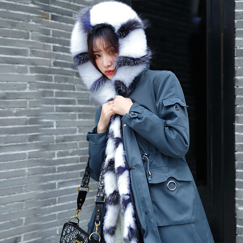 Real Parka Fur Coat Female Real Rabbit Fur Liner Winter Coat Women Fox Fur Collar Long Trench Coats Manteau Femme Yf1908 S