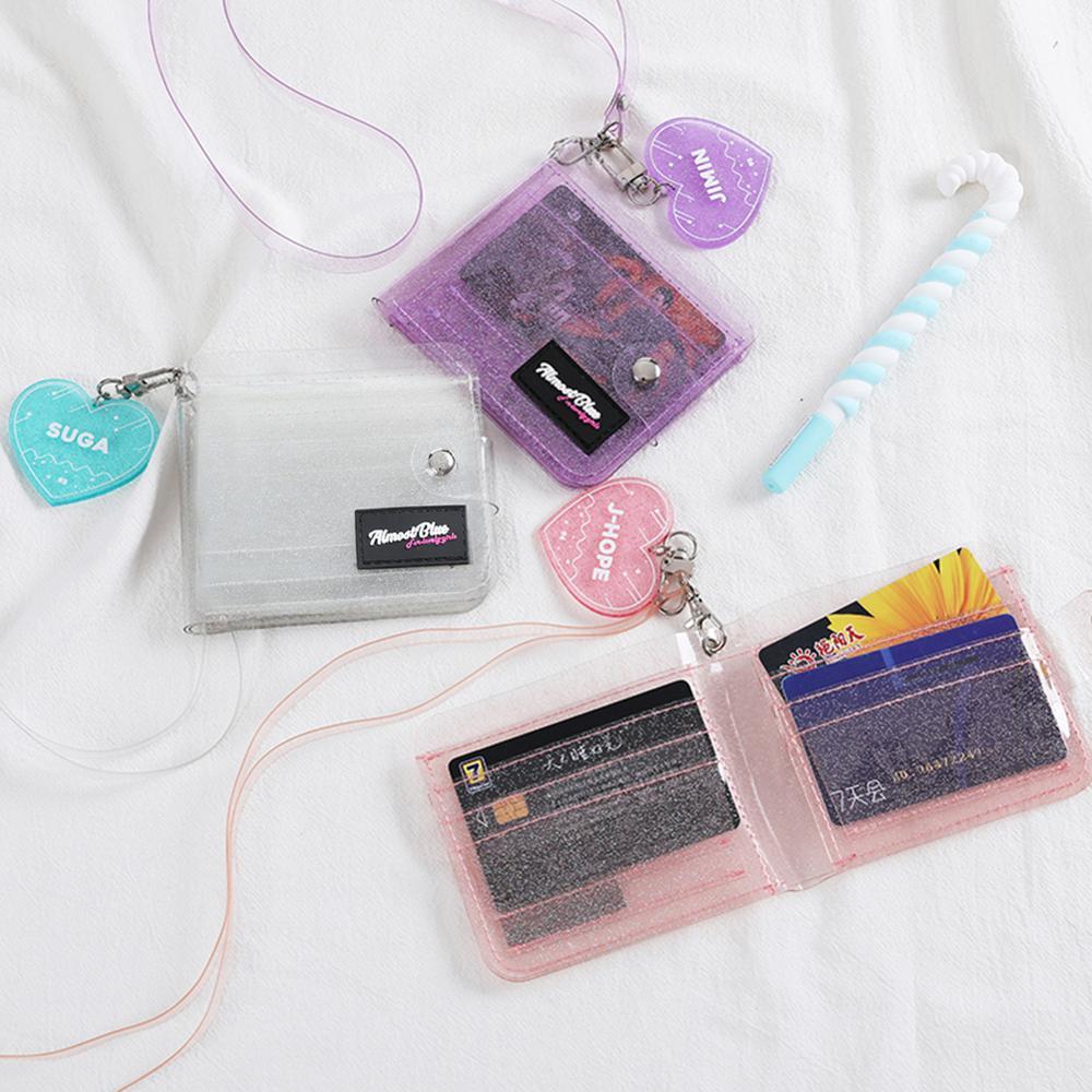 Transparent ID Card Holder Wallets Women Purse PVC Clear Short Purse Mini Money Wallet Card Holder Business Card Case Purse