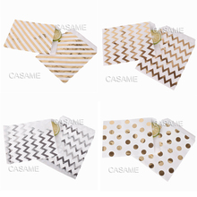 24pcs Foil Gold Silver Paper Bag 13x15cm Favors Birthday Decoration Baby Shower Party Supplies Wedding Candy Bag Gift Bag