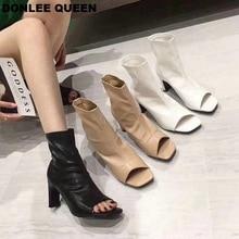 Fashion Peep Toe Ankle Boots Women Thin High Heels Shoes Wom