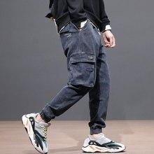 Мода Уличной Мужские Джинсы Свободная Посадка Черный Серый Цвет Большой Карман Джинсовые Брюки-Карго Старинные Дизайнер Хип-Хоп Бегунов