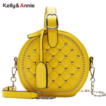 Fashion Chain Rivet Circular Women Shoulder Bag PU Leather Women's Crossbody Messenger Bags Ladies Female Round Bolsa Handbag fashion mini chain handbag for women shoulder bag pu leather female crossbody bag little bag ladies messenger bags women s totes