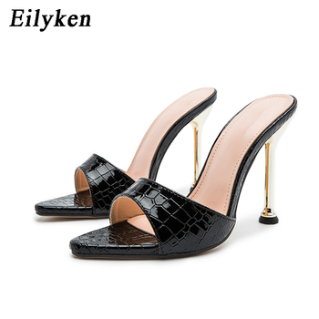 Eilyken Women slippers Snake Print Strappy Mule high heels Slippers Sandals flip flops Pointed toe Slides Party shoes Woman 7