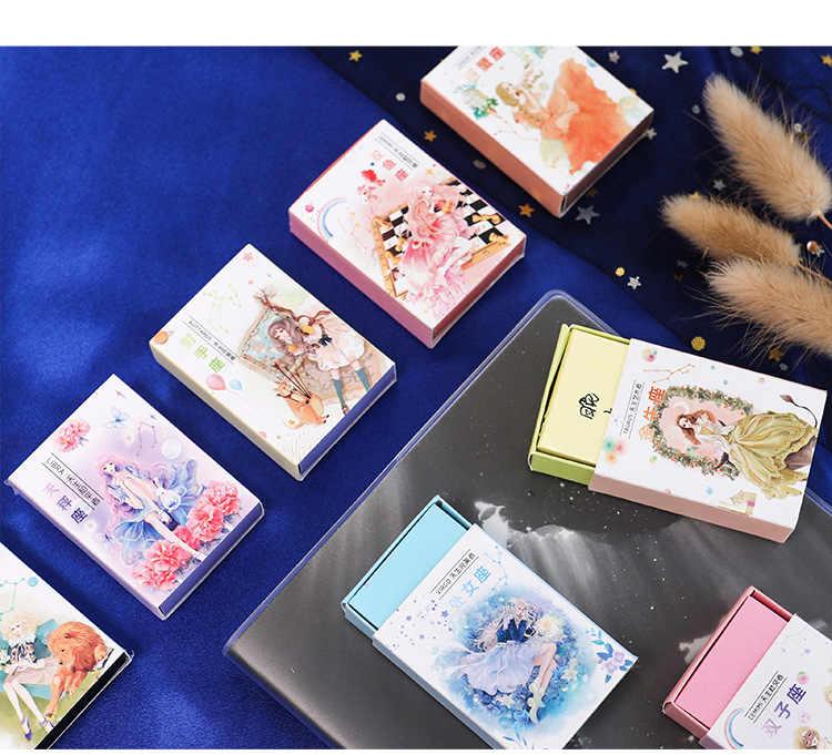 128 Lembar Mini Memo Pad Kreatif Kotak Korek Api Constellation Notebook Dapat Air Mata Lengket Catatan Kawaii Stationery Notepad