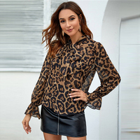 Blusa manga larga animal print leopardo cuello nudo primavera 6
