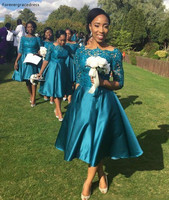 Vintage Tea Length Country Style Bridesmaid Dress Teal Garden Formal Wedding Party Guest Maid of Honor Gown Plus Size