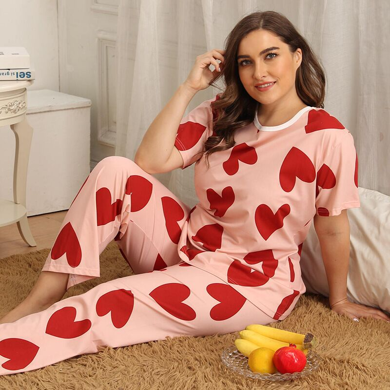 Plus Size XL-4XL Pajamas Women Heart Print Pajamas Female Cute Night Suit 2020 Spring Summer Short Sleeve Sleepwear Big Size