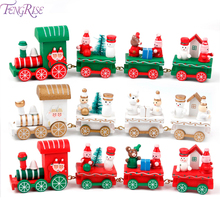 Merry Christmas Wooden Train Christmas Decoration For Home Christmas Gifts For Kids Toys Christmas Ornaments Navidad New Year's 4 section little train christmas ornaments