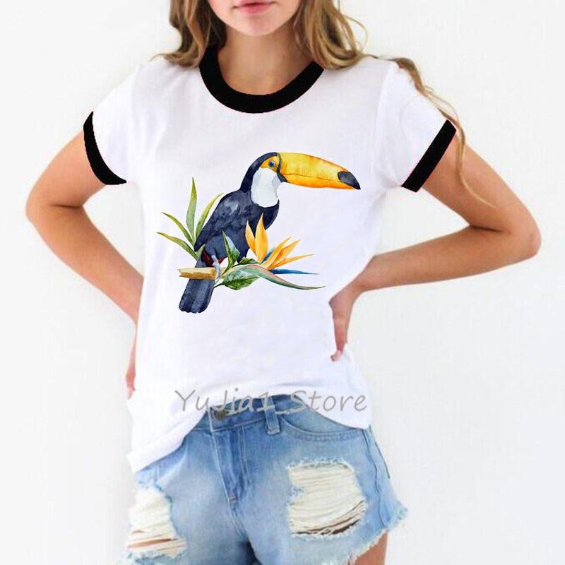 Toucan Bird Cockatoo With Tropical Flowers Print Tshirt Women Summer White T Shirt Tops Female T-shirt Harajuku Kawaii Clothes