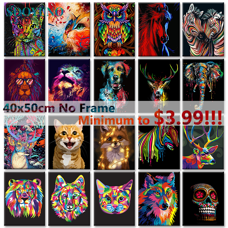 SDOYUNO 40x50cm Painting By Numbers For Adults Colourful Animals DIY Pictures By Numbers Lions Frameless Cat Digital Painting