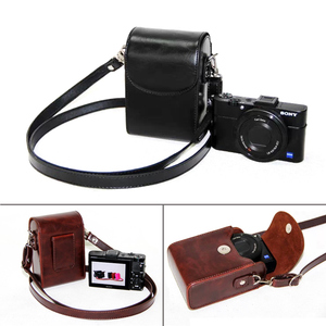 Image 2 - Leather Case Bag for Sony ZV1 RX100II III VI V IV 7 6 5 4 3 RX100M6 RX100M5 RX100M4 RX100M3 RX100M7 Case Cover for Nikon Olympus