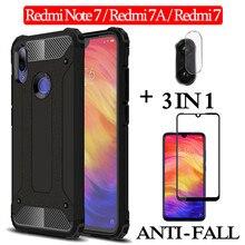 3 イン 1 ガラス + 耐震 ケース Xiaomi Redmi Note 7 ハード電話ケース Redmi 7 A フルカバー redmi note 7 case redmi note 7 耐震バックケース