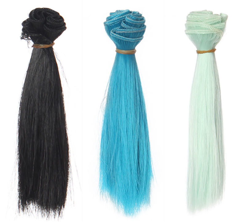 1 Pc 15*100cm Doll Accessories Straight Synthetic Fiber Wig Hair For Handmade Cloth High-temperature Wire Diy Texitle-1