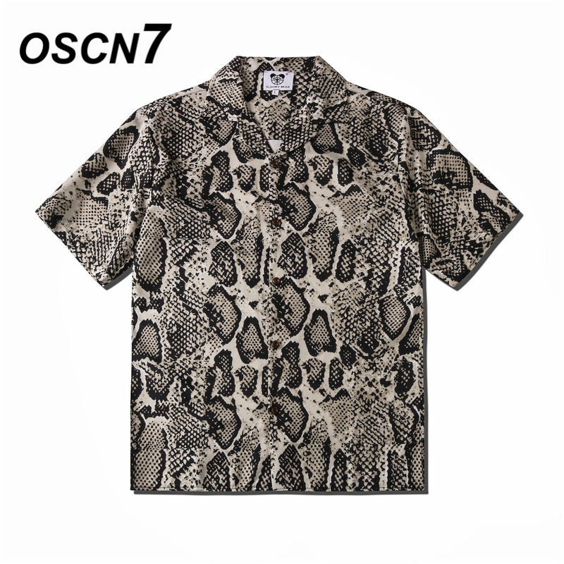 OSCN7 Casual Street Printed Short Sleeve Shirt Men 2020 Hawaii Beach Oversize Women Fashion Harujuku Shirts For Men CS101