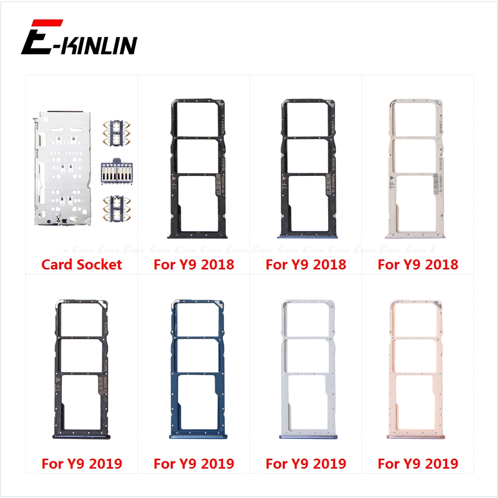 Sim Card Socket Slot Tray Reader Holder Connector Micro SD Adapter Container For HuaWei Y9 2019 2018 Replacement Parts