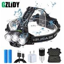 цена на USB Rechargeable LED Headlamp 5 White Light or 3 White + 2 Bule Light Waterproof Led Headlight Fishing Lamp Use 18650 Battery