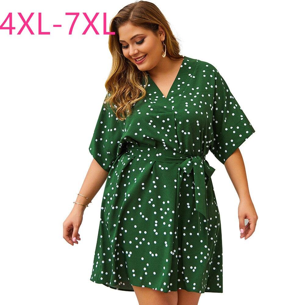 Novo 2020 verão plus size midi vestido para mulher grande manga curta solta impressão dot verde v pescoço vestido cinto branco 4xl 5xl 6xl 7xl