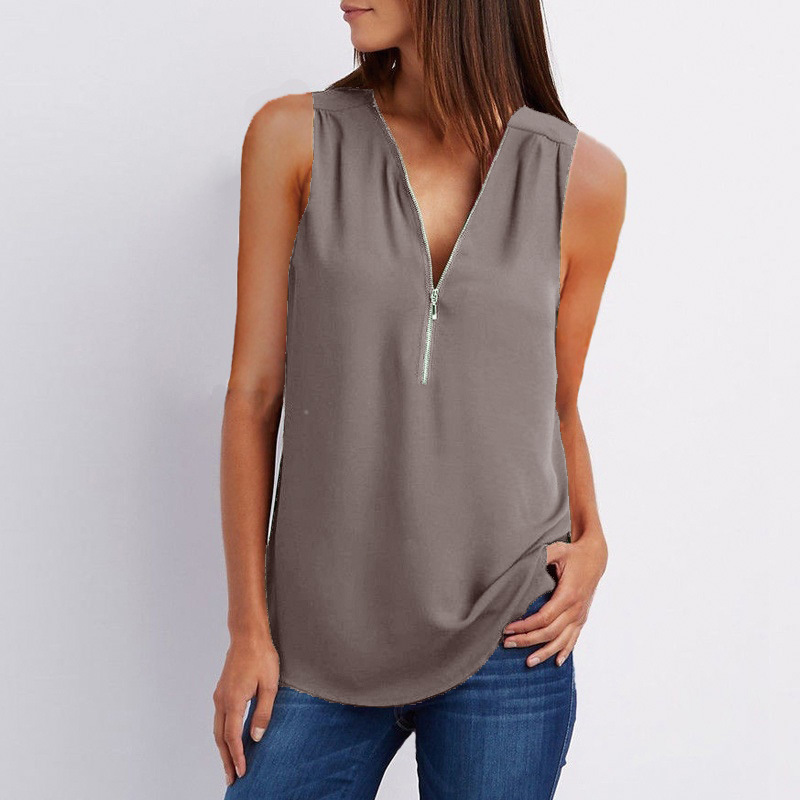 H206cd78b71fe482d9d2e4cc0b99ee4a9Q - Female Casual Summer Top Shirt Ladies V Neck Zipper Loose Tee Tops Women's Solid Zip Up Top Vestidos Mujer Verano Blouse