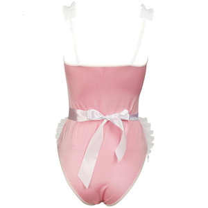 Image 4 - Women maidservant Cosplay Costume Black Pink Maid Uniforms Sexy Lace Sling Leotard with Ruffles Aprons Erotic Lingerie Outfit