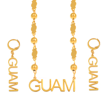 Anniyo Guam Pendant Beads Necklaces Earrings sets for Women Gold Color Ball Chain Jewellery Trendy Islands Party Gifts #069321 anniyo micronesia jewelry sets with stone pendant earrings round ball beads chain necklaces marshall jewellery guam 124506s