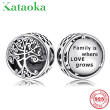 Real 925 Sterling Silver Tree of life Family Grown in Love Charms Beads for jewelry making fit charm Pandora Bracelets Bangles(China)