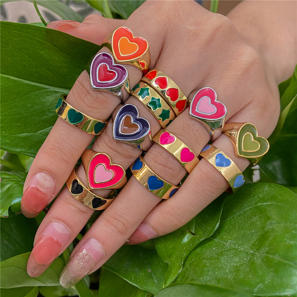 Wholesale Jewelry New Colorful Adjustable Ring for Women Glossy Love Heart Rings Peach Heart Ring Exquisite Y2k Trend Jewelry