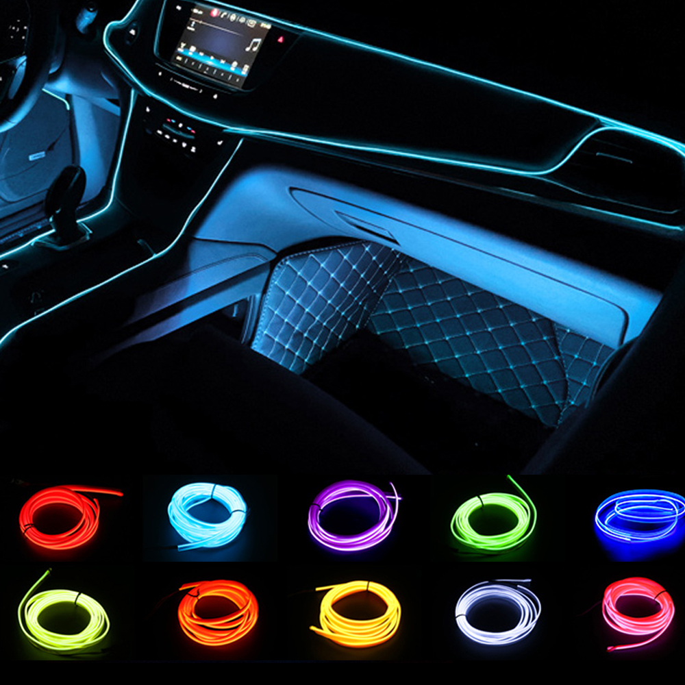 Car Interior Lighting 1m/2m/3m/5m Strips Auto LED Strip Garland EL Wire Rope Car Decoration Neon LED lamp Flexible Rope Tube(China)