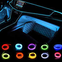 Iluminación Interior para EL coche, tiras de 1m/2m/3m/5m, tira de luces LED para EL coche, guirnalda de cable, decoración para EL coche, lámpara LED de neón, tubo de cuerda Flexible