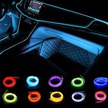 Iluminación Interior del coche 1m/2m/3m/5m tiras Auto LED tira guirnalda EL cable cuerda decoración del coche neón LED lámpara Flexible cuerda tubo