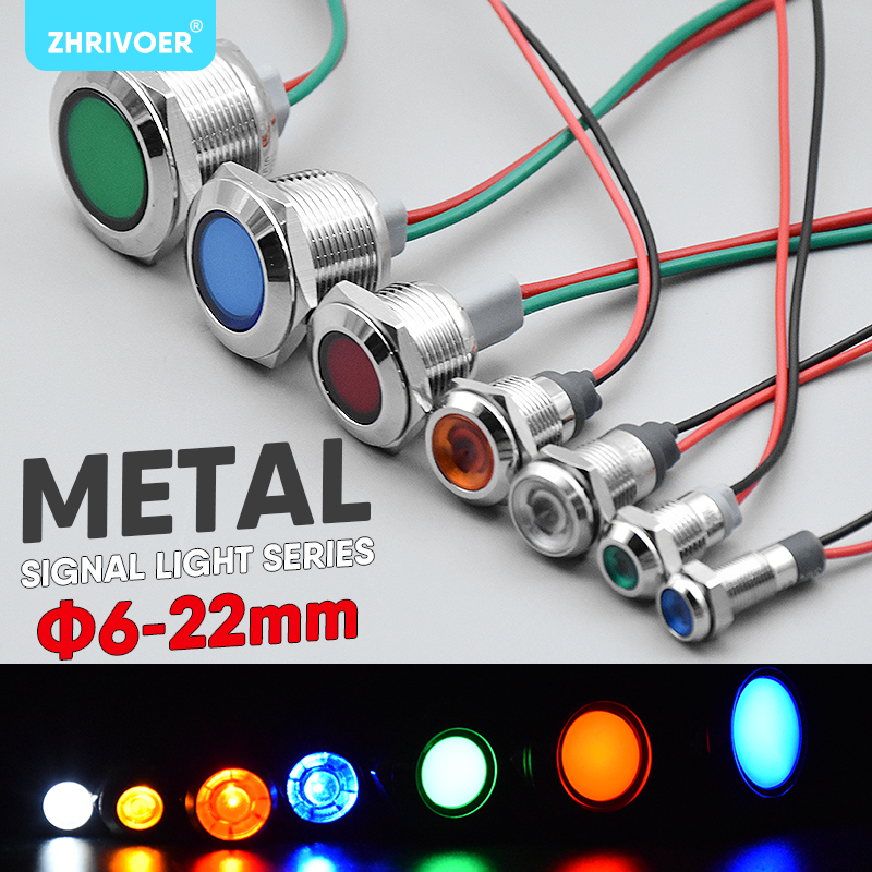 1pc 6mm 8mm 10mm 12mm 16mm Waterproof IP67 Metal LED Warning Indicator Light Signal Lamp Pilot Wire 3V 5V 12V 24V 110V 220V